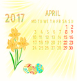Calendar April 2017 Daffodils and Easter eggs vector image