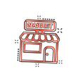 cartoon store market icon in comic style shop vector image vector image