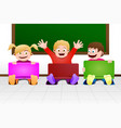 children with laptop in classroom vector image vector image