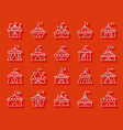 circus tent simple paper cut icons set vector image