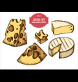 collection hand drawn colored cheese vector image