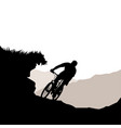cyclist riding down hill vector image vector image