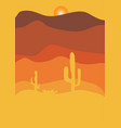 desert with cactus at sunset vector image vector image