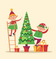 elves preparing christmas pine evergreen tree vector image