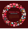 Flat Style Circle Template Collection of Valentine vector image