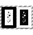 Flower in frame on white and black background vector image vector image