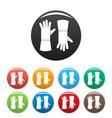 garden gloves icons set color vector image vector image