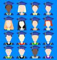 graduates avatars flat icons vector image