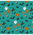 Halloween flat pattern turquoise vector image vector image