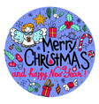 hand-drawn round frame with christmas elements vector image vector image