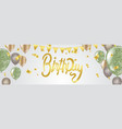 happy birthday lettering on background with gold vector image