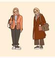 hijab teen student goes to school college work vector image vector image