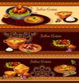 indian cuisine restaurant banner for thali design vector image vector image
