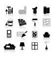 Interior Design Icons Black vector image vector image