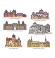 isolated medieval castles europe architecture vector image vector image