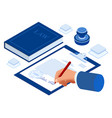 isometric signed a contract with a stamp document vector image