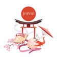 japanese culture elements retro cartoon vector image