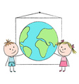Kids with planet vector image vector image