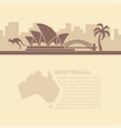 leaflet with a map and symbols of the australia vector image