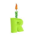 letter r birthday font letter and candle vector image vector image