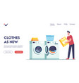 male a character in laundry landing page template vector image
