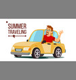 man travelling by car boy in summer vector image