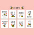 mothers day fathers day cards with cute bee vector image vector image