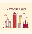new orleans usa skyline line art style vector image