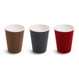 paper coffee cup set 3d vector image