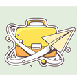 paper plane flying around yellow briefcas vector image vector image