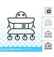 robot simple black line icon vector image vector image