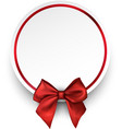 round holiday background with red bow vector image vector image