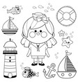 sailor girl nautical set vector image vector image
