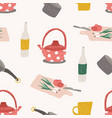 seamless pattern with colorful kitchen utensils vector image vector image