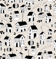 seamless pattern with graphic houses vector image vector image