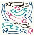 set hand drawn textured retro ribbons vector image vector image