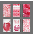 set of art wine cards and labels design vector image