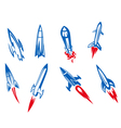 Set of rockets and missiles vector image vector image