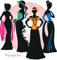 silhouette of beautiful ledi in elegant dresses vector image