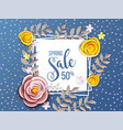 spring sale background with flower vector image