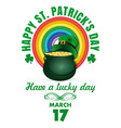 st patricks day design with rainbow and magic pot vector image vector image