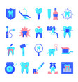 stomatology and teeth care icon set in flat style vector image vector image