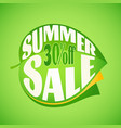 Summer sale lettering design template on leaf