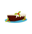 tasty christmas pudding with cream and red berries vector image