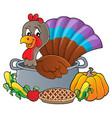 turkey bird in pan theme image 3 vector image vector image