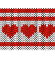 valentines day knitted pattern of hearts and vector image