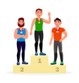 winners with golden silver and bronze medals vector image vector image
