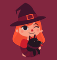 Witch Girl Holding a Black Dog vector image vector image