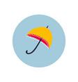 yellow umbrella circle icon sticker vector image