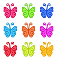 Set of Colorful Hand Drawn Butterflies Isolated on vector image